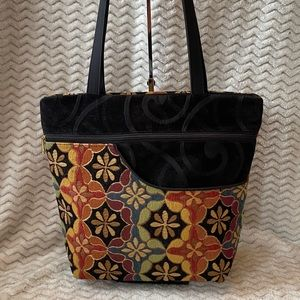Danny K. Floral abstract tapestry bag